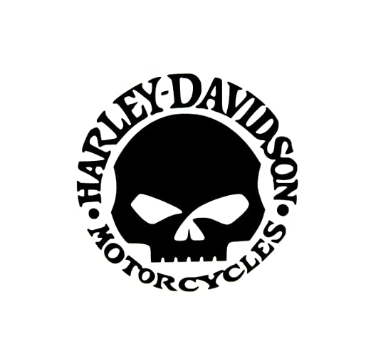 Customized Harley Davidson Skull Decal Vinyl Sticker 4quot Black