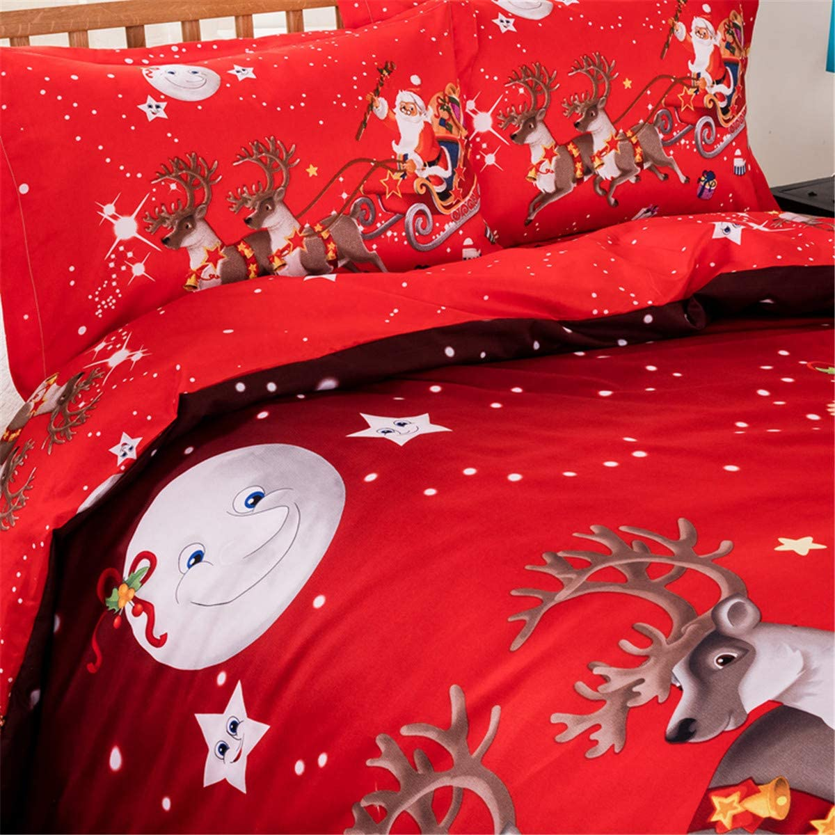 Christmas Bedding Duvet Cover Queen Reversible Santa Claus Deer Printed Duvet Cover with Zipper Closure for Kid Teens Adults Soft Lightweight Microfiber Christmas Bedding