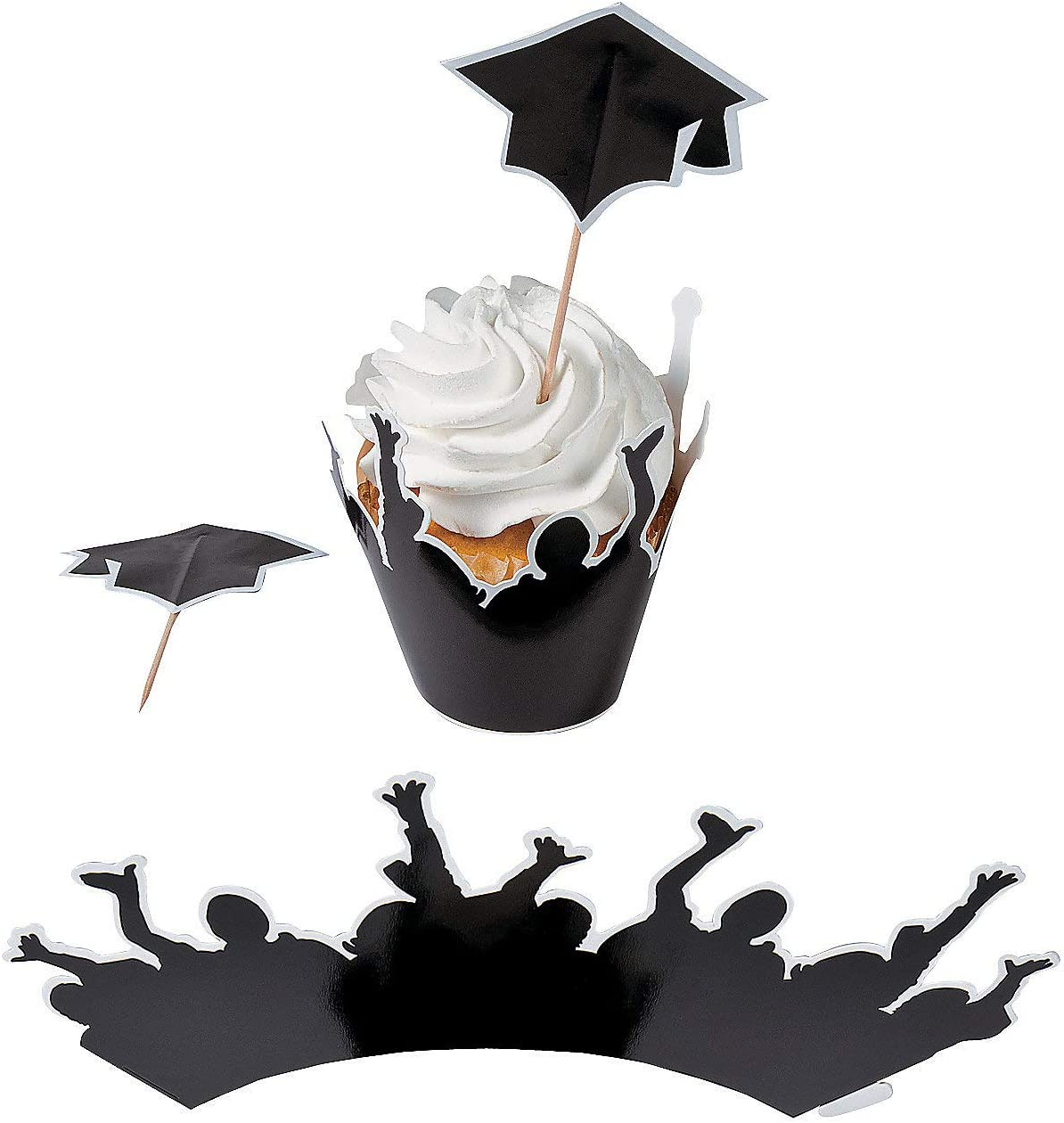 White Graduate Cap Silhouette Party Accessory 1 count