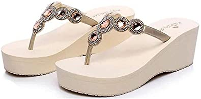 87ba32c5c199 Gimekiss Pumps Women s Rhinestone Platform Mid Heel Wedges Sandals Thong  Slippers Beige5.5 B(
