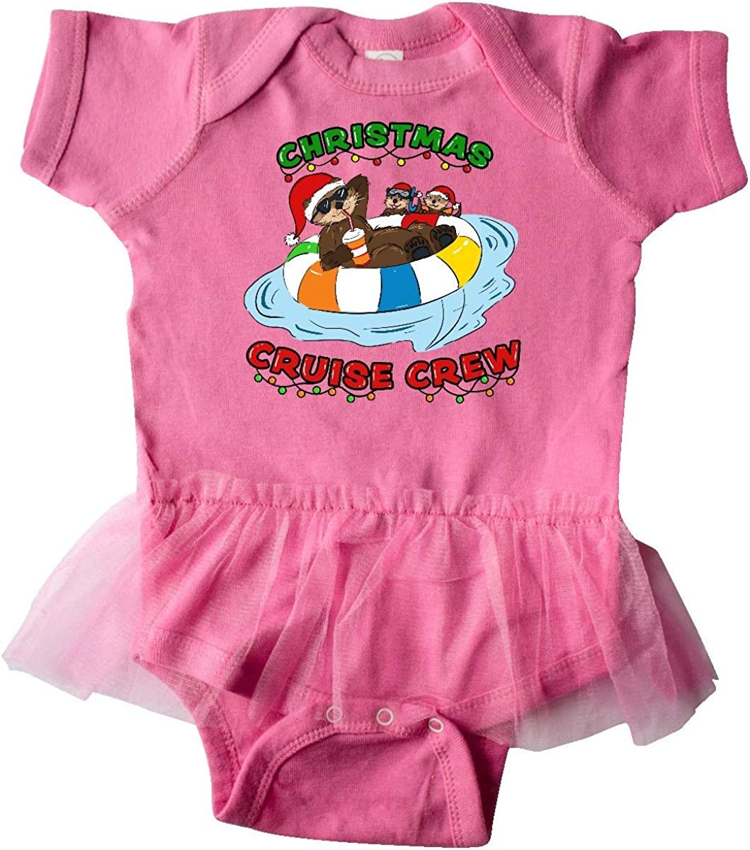 inktastic Christmas Cruise Crew with Cute Otter in Santa Infant Tutu Bodysuit