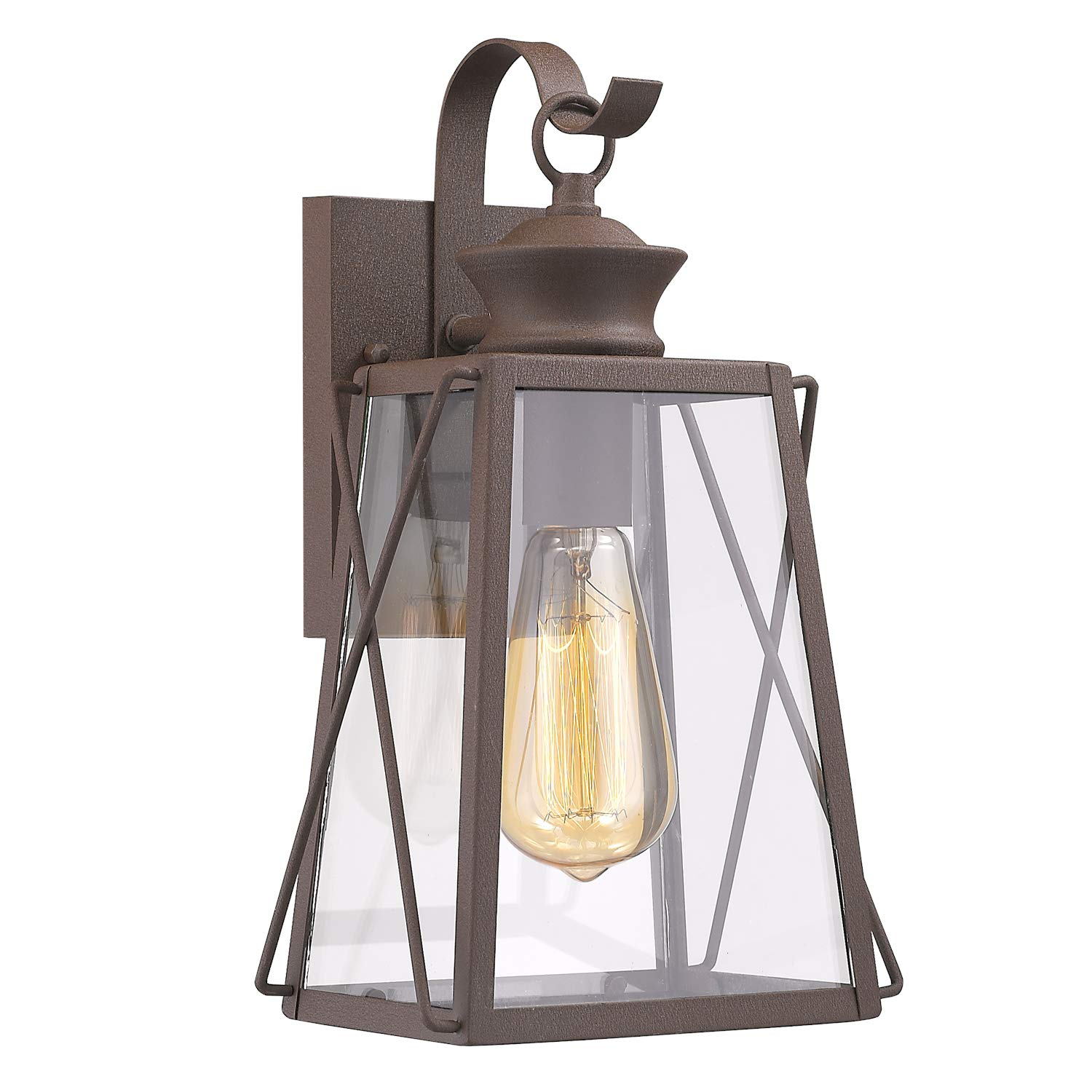 Emliviar outdoor wall lighting fixtures 1 light porch light fixture rustic finish with clear glass shade 1810 cw1 amazon com