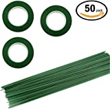 3 Rolls Floriculture Paper Tape ,Floral Tape for Stem Wrap Flower Tape with 50 Pieces 16 Inch Floral Stem Wire,Dark Green