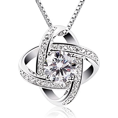 PULSE New 2018 Women Necklaces 925 Sterling Silver Cubic Zirconia Pendant Necklace with Box Chain in a Gift Box WRCRZTqIY