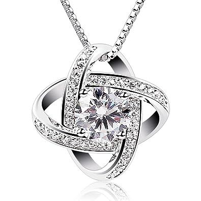 Pendentif entrelacé de deux anneaux en argent et cristal avec diamant central