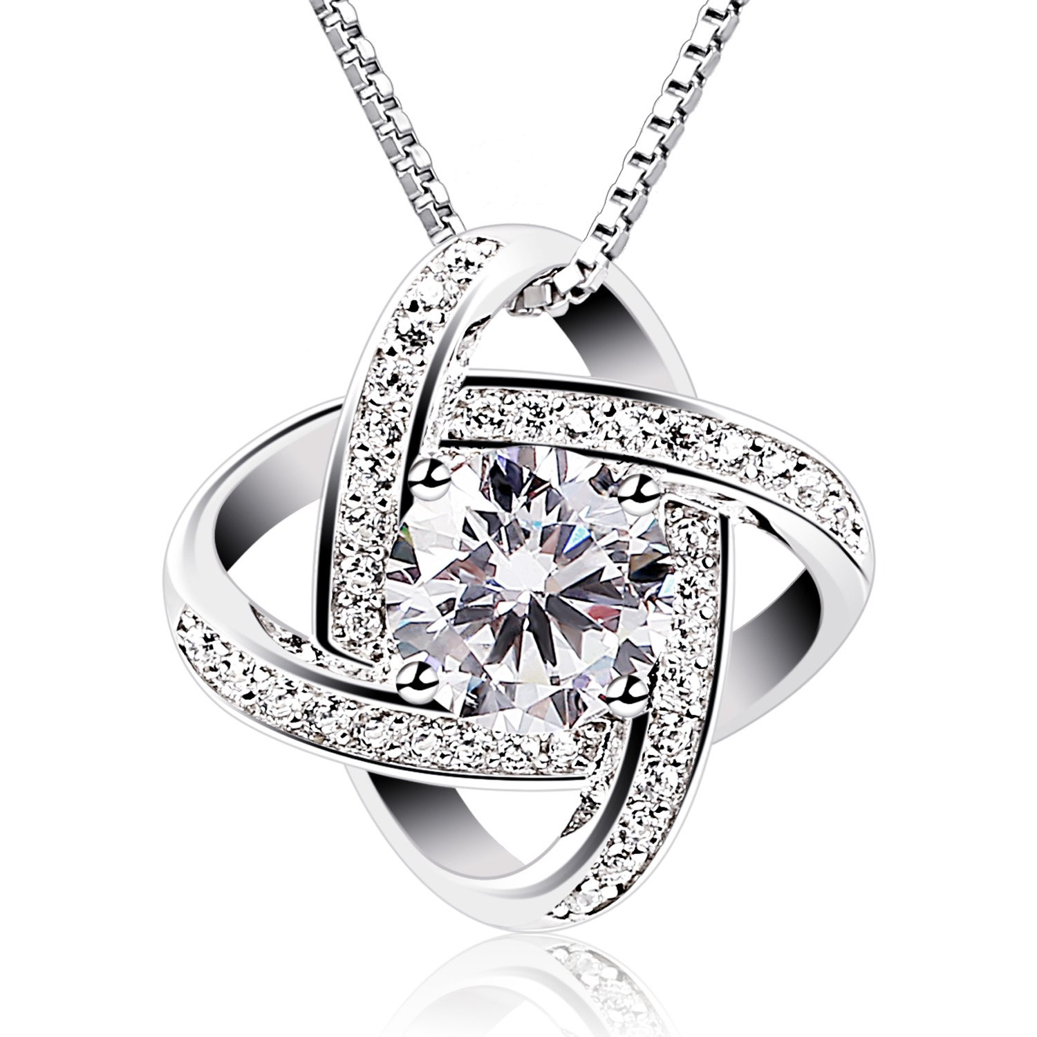 B.Catcher Silver Necklace Womens 925 Silver Cubic Zirconia Pendant Gemini Necklace Mother's Day Gift