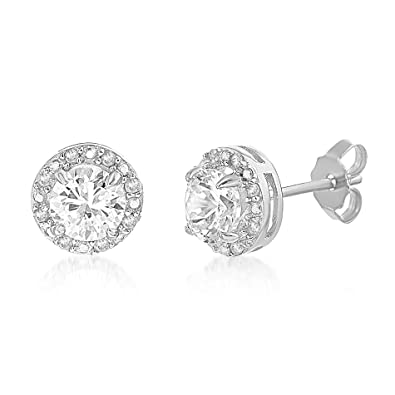 c6a827efa LESA MICHELE 1/10 Cttw Genuine Diamond & Lab Created White Sapphire Stud  Gift Earrings