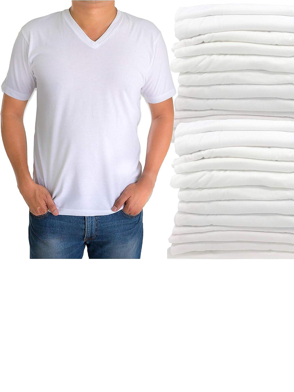 508bd6791ce Classic Men's White Short Sleeve Undershirts V Neck T Shirt - 12 Pack at  Amazon Men's Clothing store
