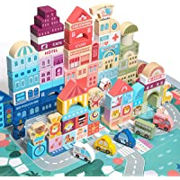 Wooden Blocks, Preschool Learning Educational Toys, Wooden Toddler Toys with City Map Construction, Stacking Blocks for…