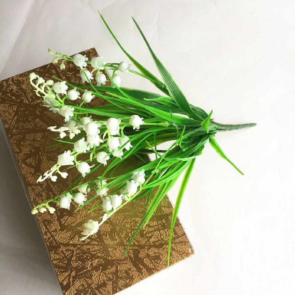 人工花プラスチックラッキー草Lily of the Valley Grass Imitation Grass One Size ホワイト SDJKL32815601497 B07DZYNB8T ホワイト