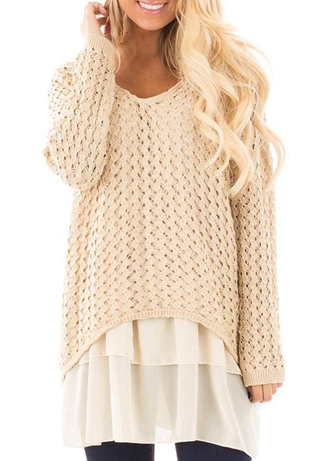Haloumoning Womens Sweaters Fall Loose Round Neck Double Layer Cable Knit Pullover Dress (Medium, Beige)