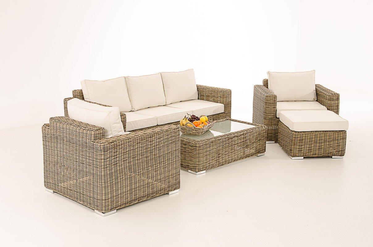 Mendler 3-1-1 Gartengarnitur CP053 Sitzgruppe Lounge-Garnitur Poly-Rattan ~ Kissen cremeweiß, Natur