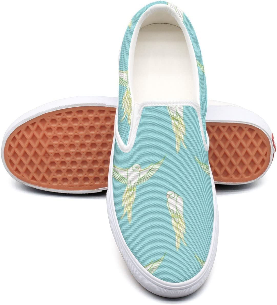 SEERTED Ornamental Bird Feather Canvas Slip On Shoes For Women