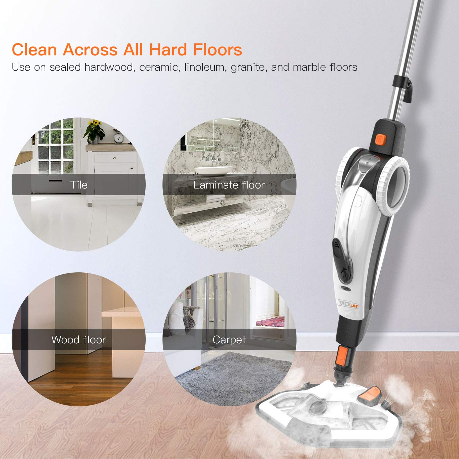 TACKLIFE Steam Mop, Steam Cleaner Multifunction Floor Steamer and Hand-held Steam Floor Mop 2 in 1, 1400W Portable Electric Scrubber Heating in 5s, with 11 Accessories by TACKLIFE (Image #6)