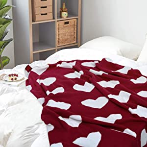 Brandream Queen Size Farmhouse Bedding Comforter Sets Cotton Shabby Floral Quilt Set & Red Heart Throw Blanket
