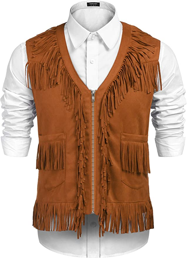 60s , 70s Hippie Clothes for Men COOFANDY Mens Western Cowboy Vest Casual Fringe Hippie Costume V Neck Zipper Suede Leather Waistcoat $30.99 AT vintagedancer.com