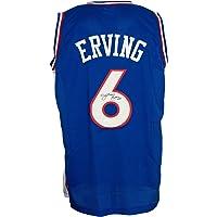 $199 » Julius Dr. J Erving Signed Custom Blue Pro-Style Basketball Jersey JSA