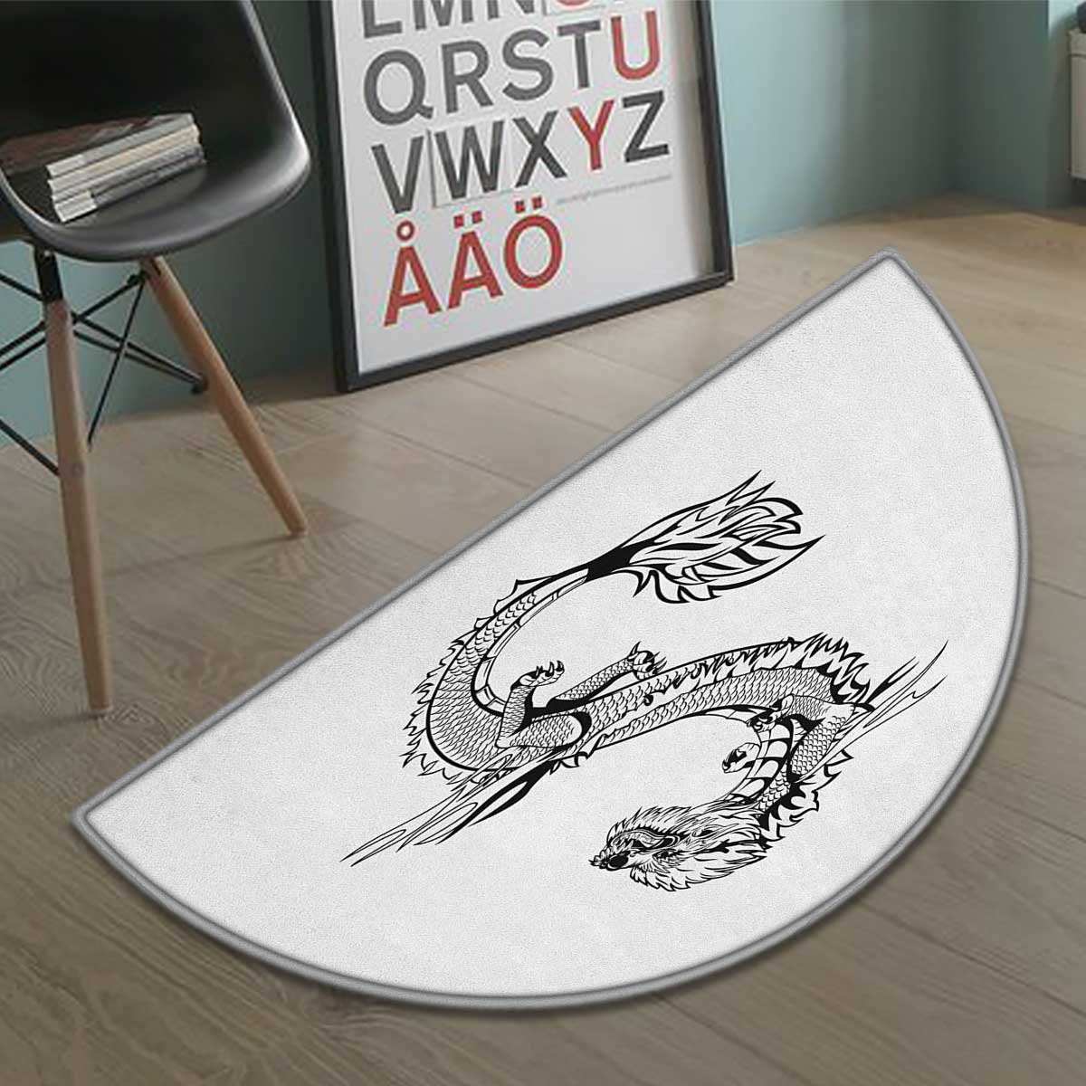 cobeDecor Japanese Dragon half moon door mats for home Ancient Far Eastern Culture Esoteric Magical Monster Symbolic Thai Style Bath Mat Bathroom Mat with Non Slip Black White size:31.5''x19.7''