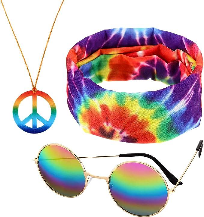 Unisex Hippie Kit Glasses Headband Peace Necklace Earrings Kit Costume Props