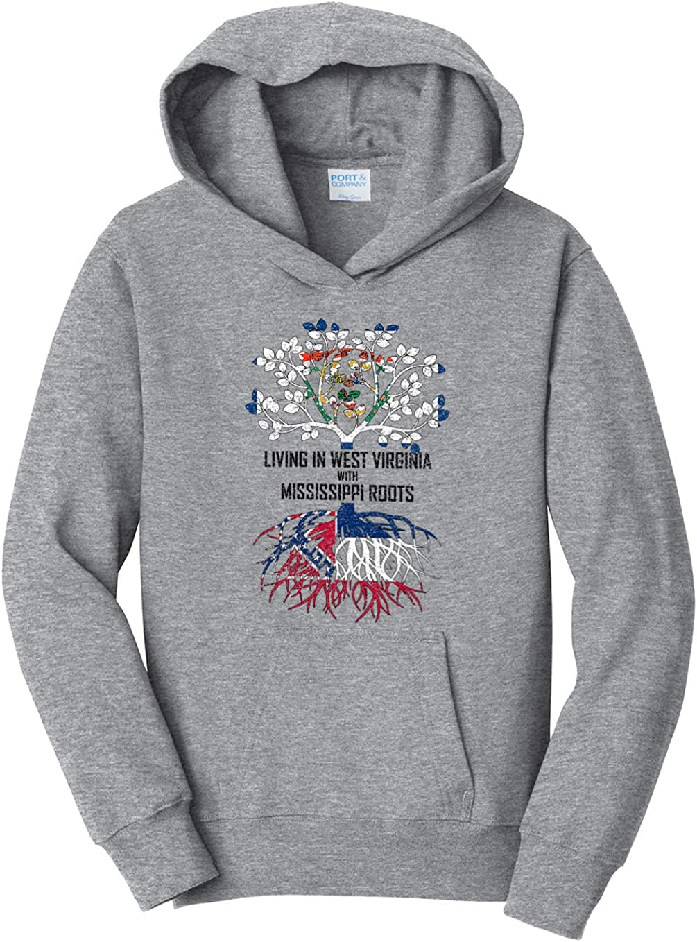 Tenacitee Girls Living in West Virginia with Mississippi Roots Hooded Sweatshirt