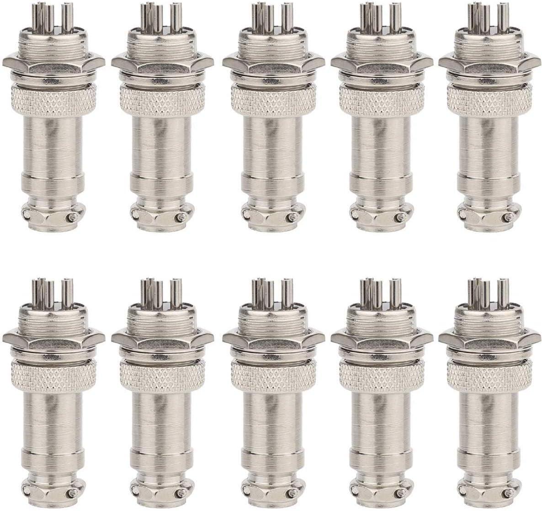 10 St/ücke Clyxgs GX16 2 Pins Panel Metallmontage Rund Metall Aviation Stecker Adapter M/ännlich Weiblich Steckdose