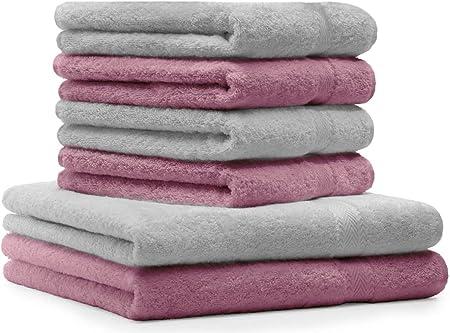 BETZ Lot de 6 Serviettes Set de 2 draps de Bain 4 Serviettes de Toilette 100/% Coton Premium Couleur Gris Anthracite Gris argent/é