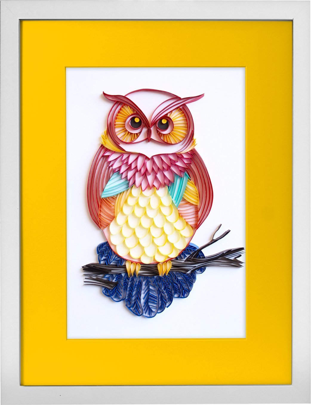 The Great Horned Owl - Modern Paper Quilled Wall Art for Home Decor (one of a kind paper quilling handcrafted piece made with love by an artist in California)
