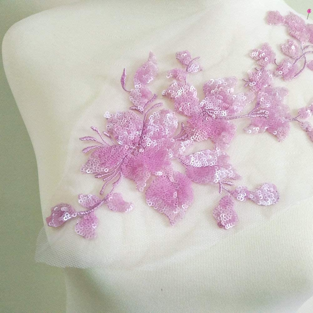 1Pcs Purple Floral Embroidery Sequins Rhinestone Lace Applique For Wedding Dress