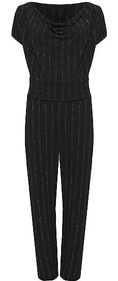 f485e6f78c7 Islander Fashions Womens Plus Size Sleeveles Lurex Stripe Print Belted  Playsuit Cowl Neck Jumpsuit UK 14-28  Amazon.co.uk  Clothing