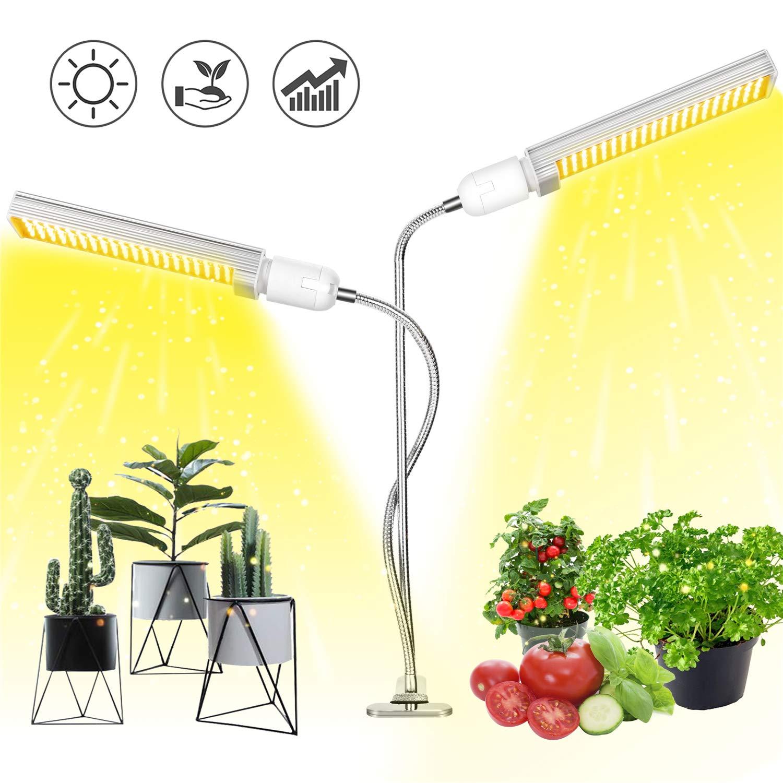 Plant Light, Aokrean 2019 Newest 100W LED Grow Light for Indoor Plants, 3000K White Full Spectrum Desk Plant Lamp with 360 Dual Gooseneck Head, Replaceable Bulb for Seedling Growing Flower