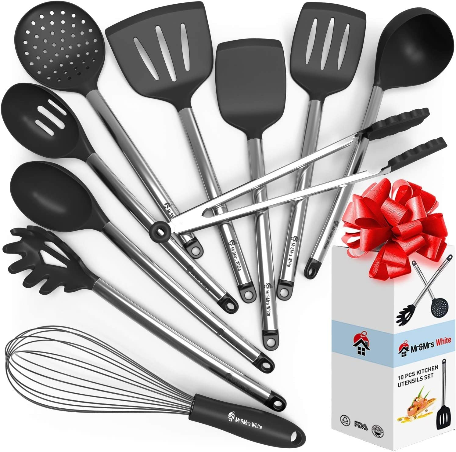 Cooking Silicone Utensils Set 10 - Best Nonstick Kitchen Cookware Utensil Sets - Large Hanging Spoons Spatula Set