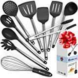 Cooking Silicone Utensils Set 10 - Best Nonstick Kitchen Cookware Utensil Sets - Large Hanging Spoons Spatula Set – Non Toxic Cook Gadget Kit Black