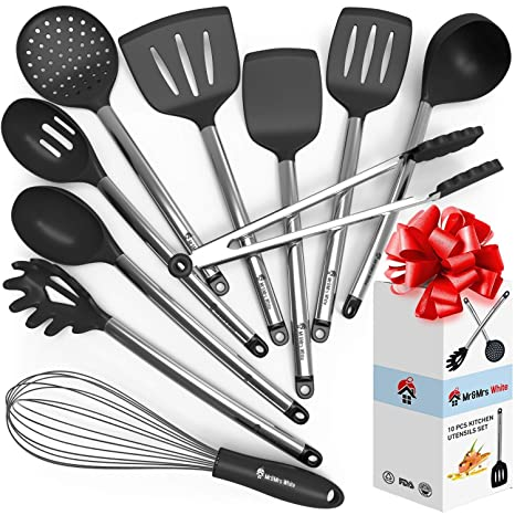 Cooking Silicone Utensils Set 10 Best Nonstick Kitchen Cookware Utensil Sets Large Hanging Spoons Spatula Set Non Toxic Cook Gadget Kit Black