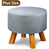 Tribesigns Modern Wood Upholstered Footstool Ottoman Round Pouffe Stool with 4 Beech Legs and Linen Cover,Expectation Grey(Removable Cover)