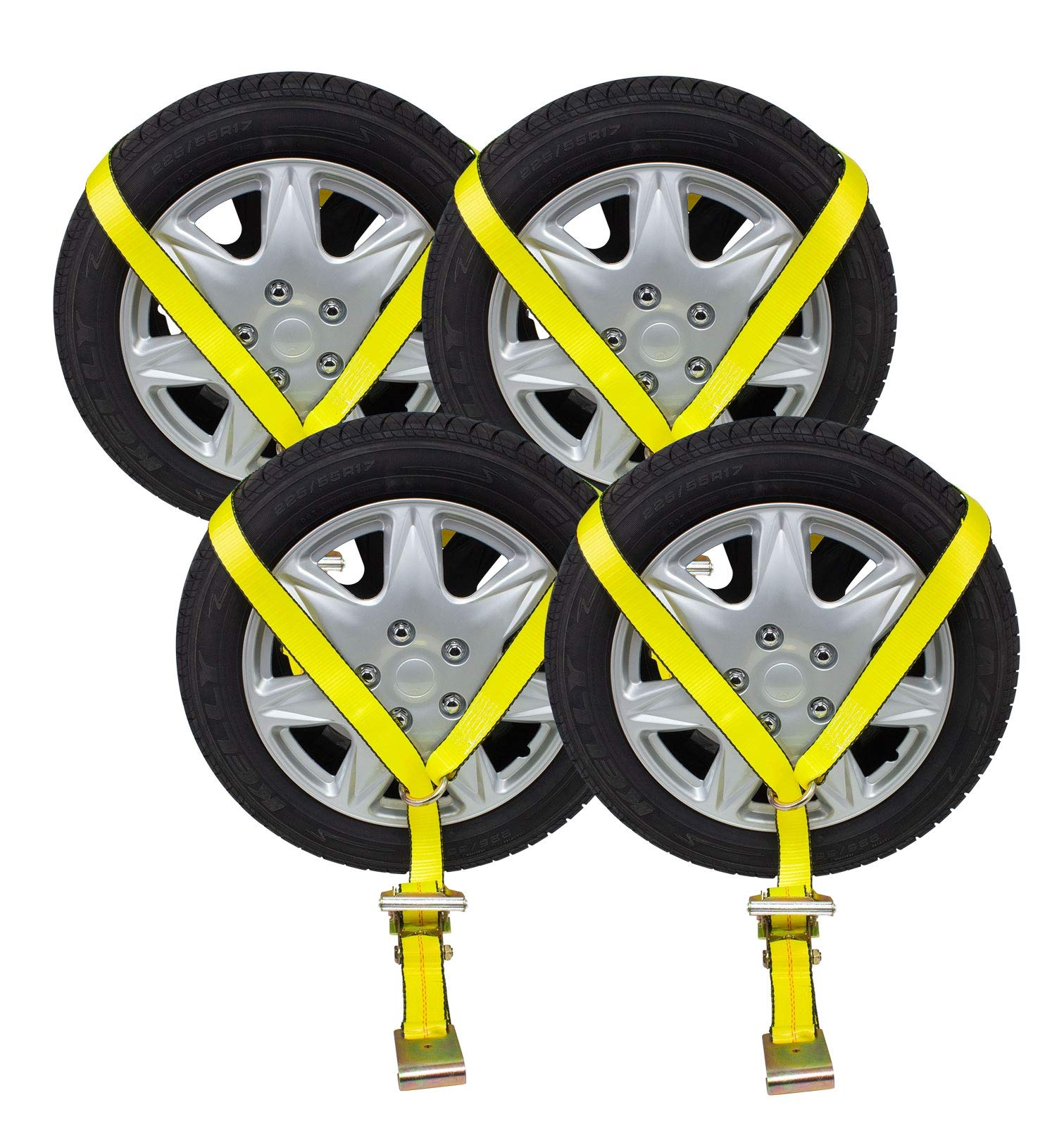 Mytee Products (4 Pack) 2'' x10' Ratchet Wheel Net Lasso Strap Auto Hauling with Flat Hook Ratchet Strap ((4 - Pack) 2'' x14' Single Ratchets & Flat Hook)