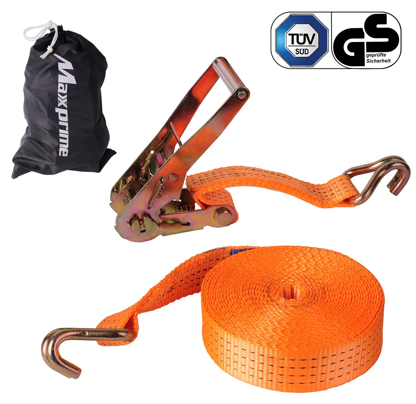 """Premium Ratchet Tie Down, Maxxprime 33' x 2"""" 10, 000 lbs Rated Capacity Tie-Down Ratcheting Cargo Truck Straps with Double J-Hooks - German Quality"""