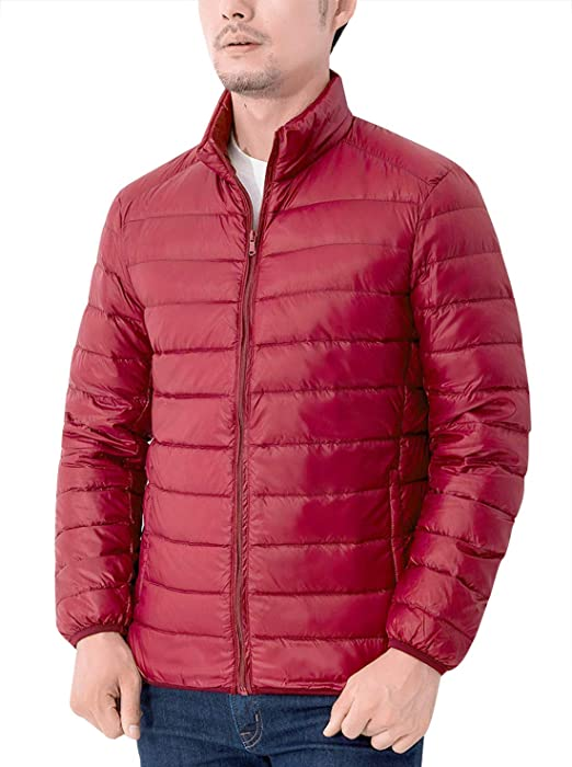 e5f8227934713 AIEOE Men Warm Hiking Down Large Jacket Winter Puffer Coats Red Outdoor  Quilted Lightweight Down Parka