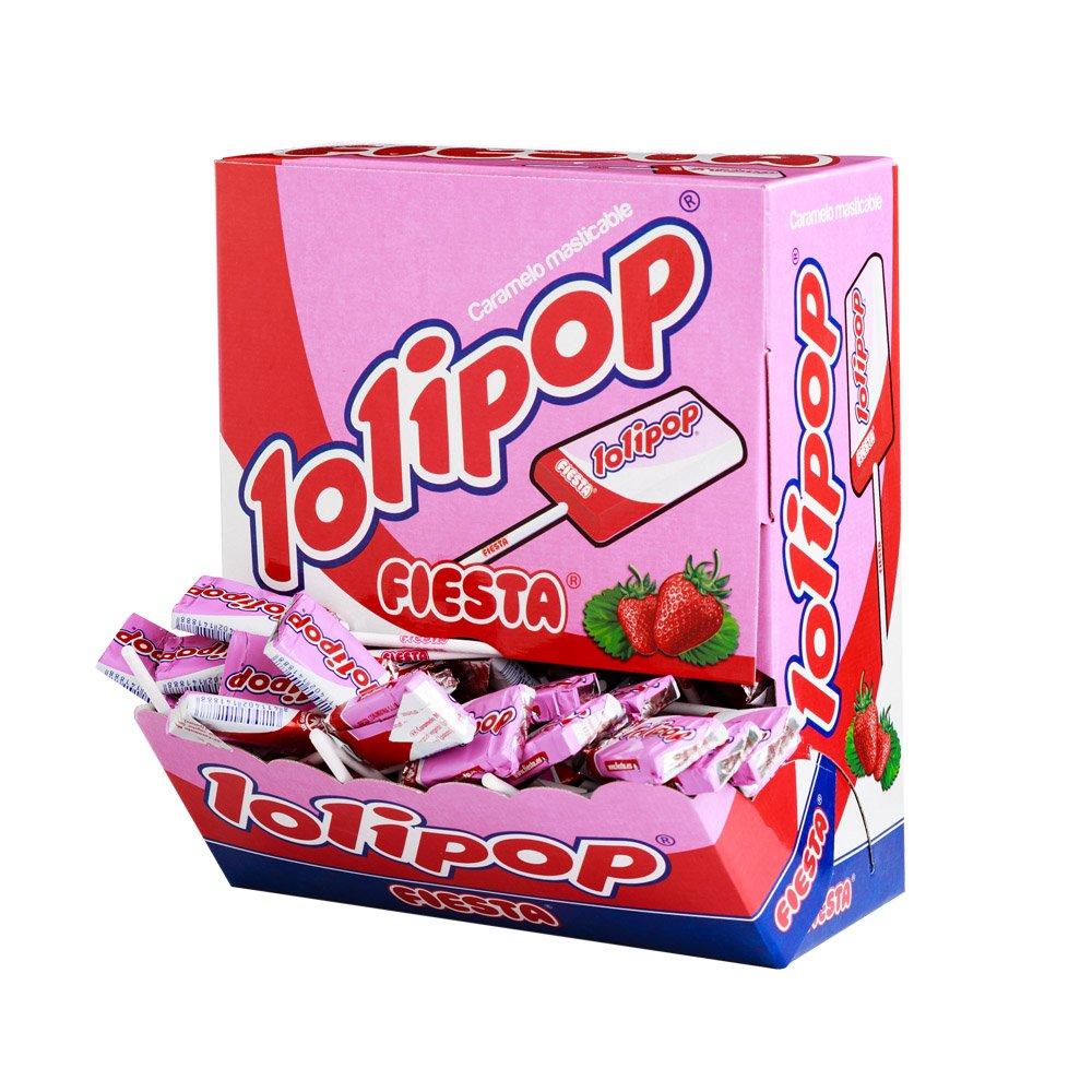 b59119f505b8 Fiesta Lollipop - Candy Chew Strawberry Flavor with Stick - 100 Pieces:  Amazon.co.uk: Grocery