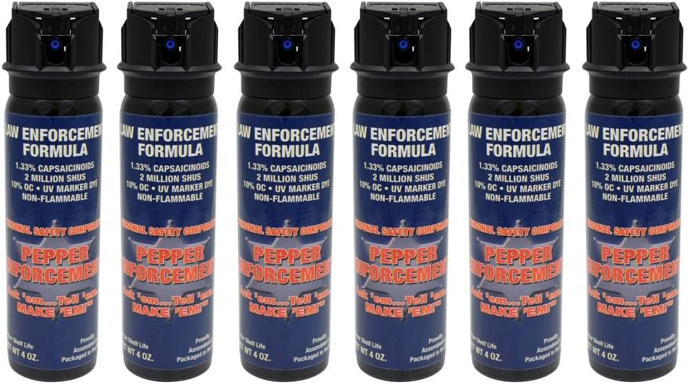 Pepper Enforcement Pack of 6 Splatter Stream Police Strength 10 OC Pepper Spray with Flip Top – Professional Grade Emergency Self Defense Non Lethal Weapon for Personal Protection and Safety