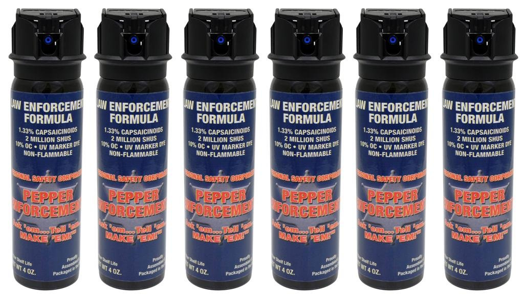 Pepper Enforcement (Pack of 6) Splatter Stream Police Strength 10% OC Pepper Spray with Flip Top - Professional Grade Emergency Self Defense Non Lethal Weapon for Personal Protection and Safety