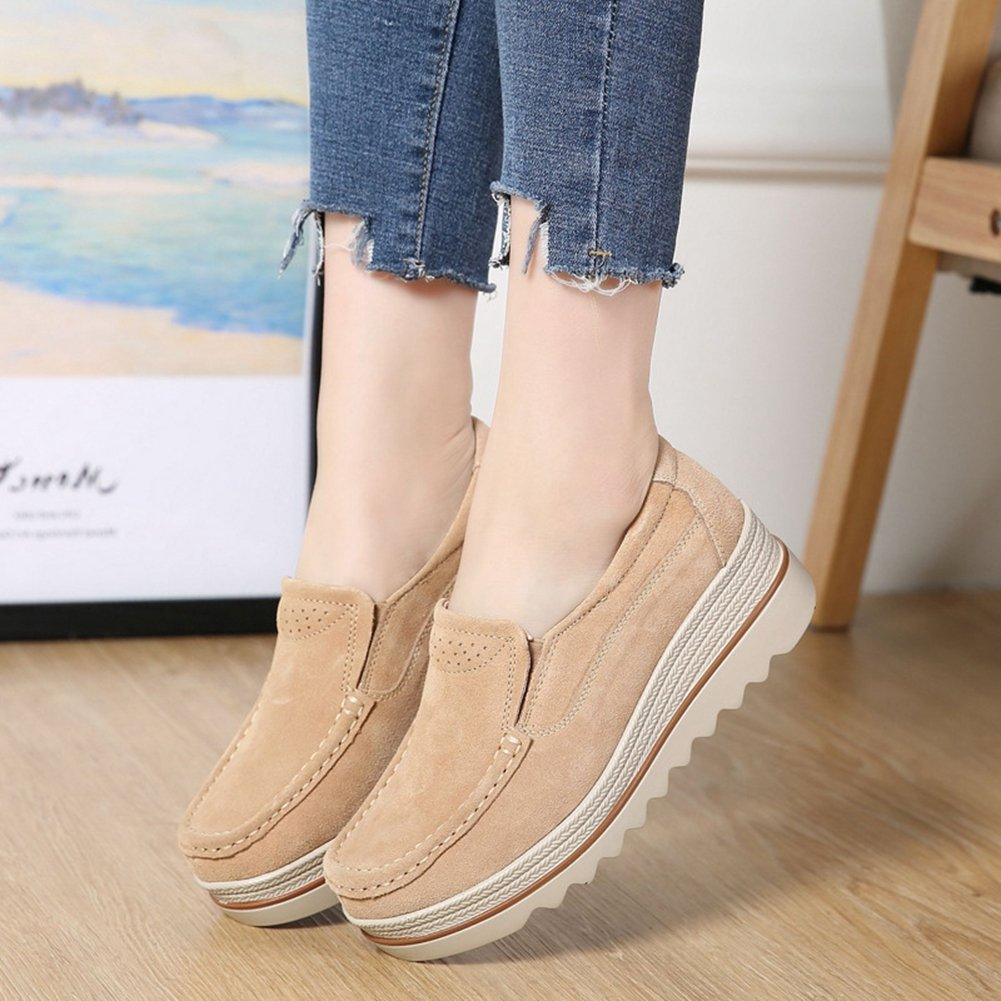 T-JULY Women's Loafers Shoes Mid Mid Mid Wedge Round Toe Casual Suede Platform B07BT98K6S Platform 37b65c