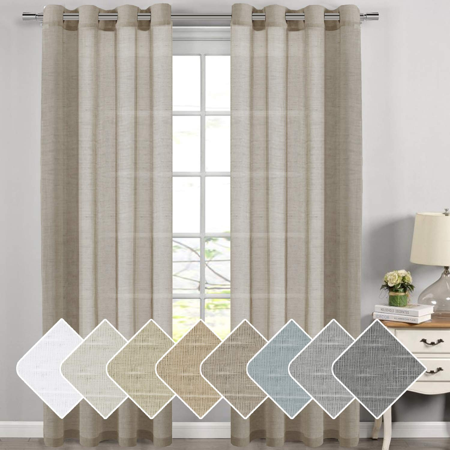 High Class Linen Poly Blended Window Curtain Panels Energy Efficient Nickel Grommet Sheer Curtains for Bedroom Set of 2,52 W x 108 L-White