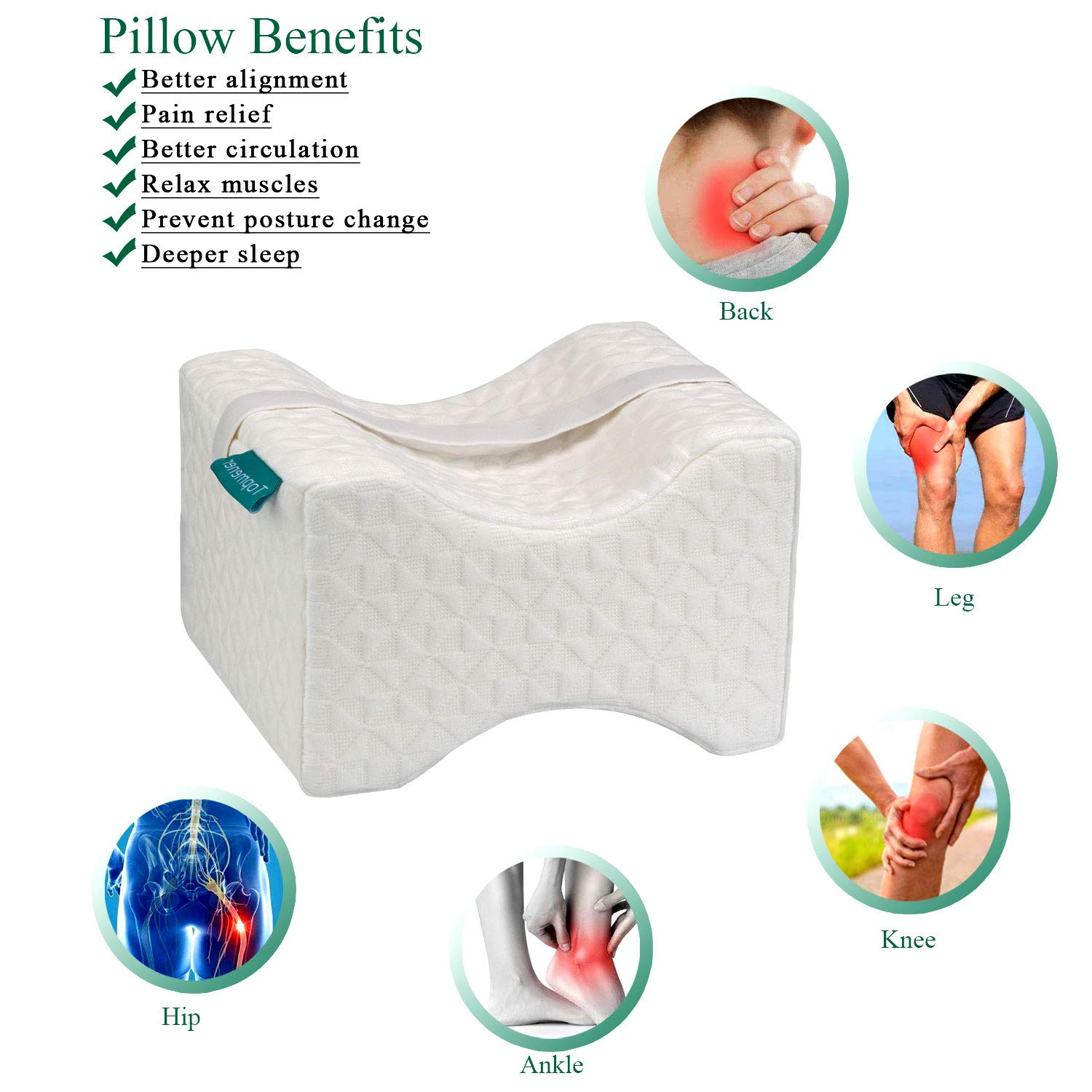 Pregnancy /& Sciatica Relief Topmener Knee pillow Memory Foam Leg Cushion Orthopedic Between Knee Wedge Pillow for Sleeping with Strap /& Washable Cover Perfect for Hip Leg /& Knee Pain Side Sleeper