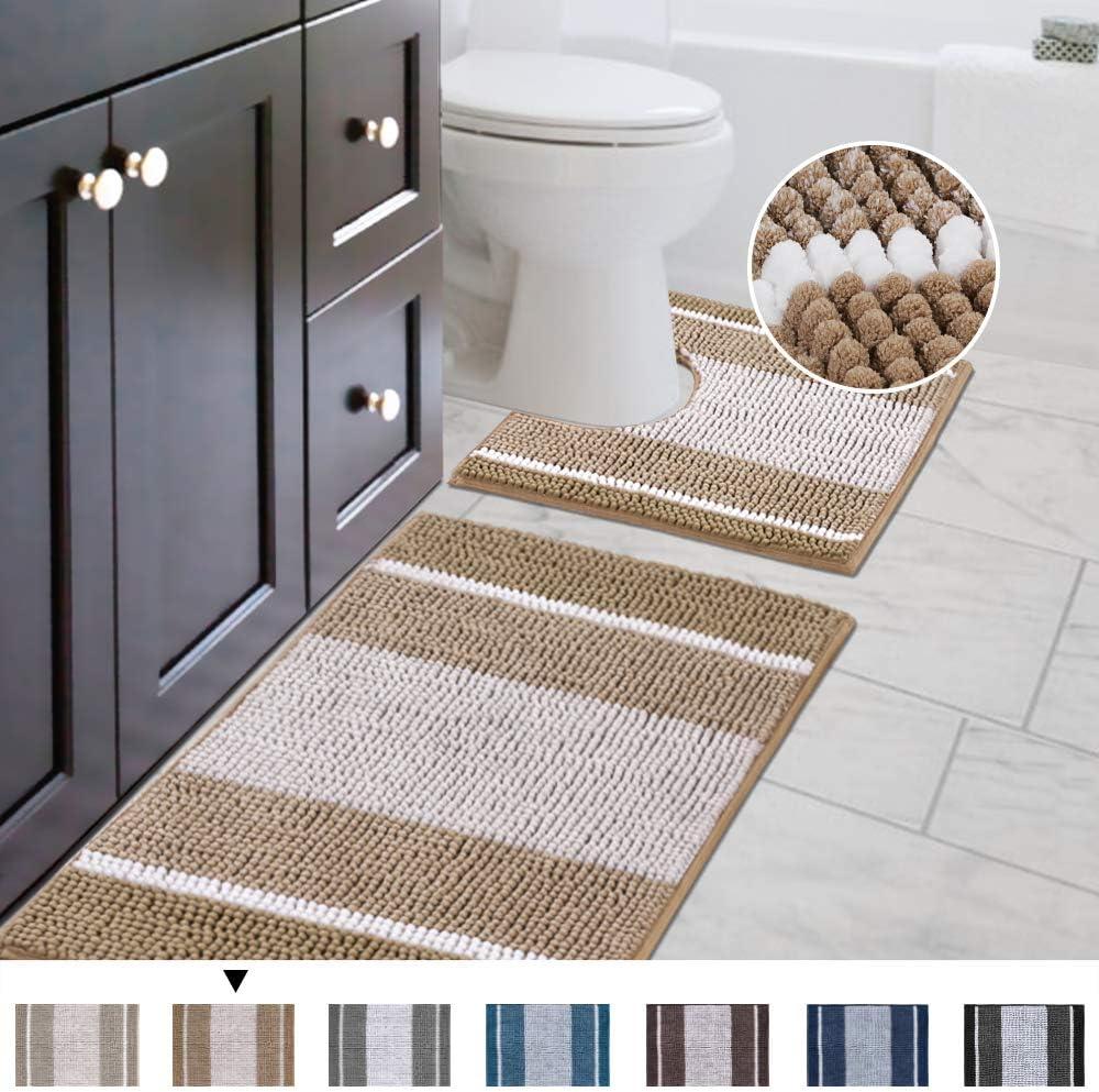 Soft Machine Wash//Dry Mats Original Striped Shaggy Chenille 2 Piece Bath Rug Set 20x20 Square U-Shape Contoured Toilet Mat /& 32x20 Carpet Rug Plush Rugs for Tub Shower Beige