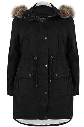 38f7ccdc2e0f Yours Clothing Women s Plus Size Cotton Parka with Faux Fur Trim Hood Size  16 Black