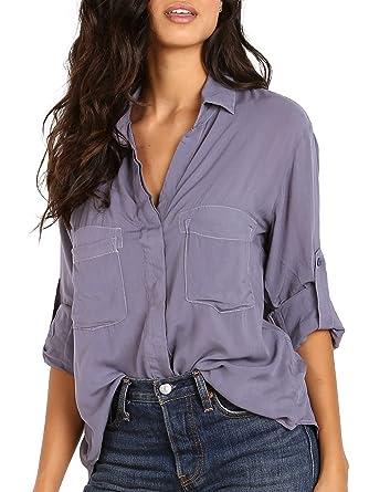 85a78cb27d7c9 Bella Dahl Split Back Button Down Lake at Amazon Women's Clothing store: