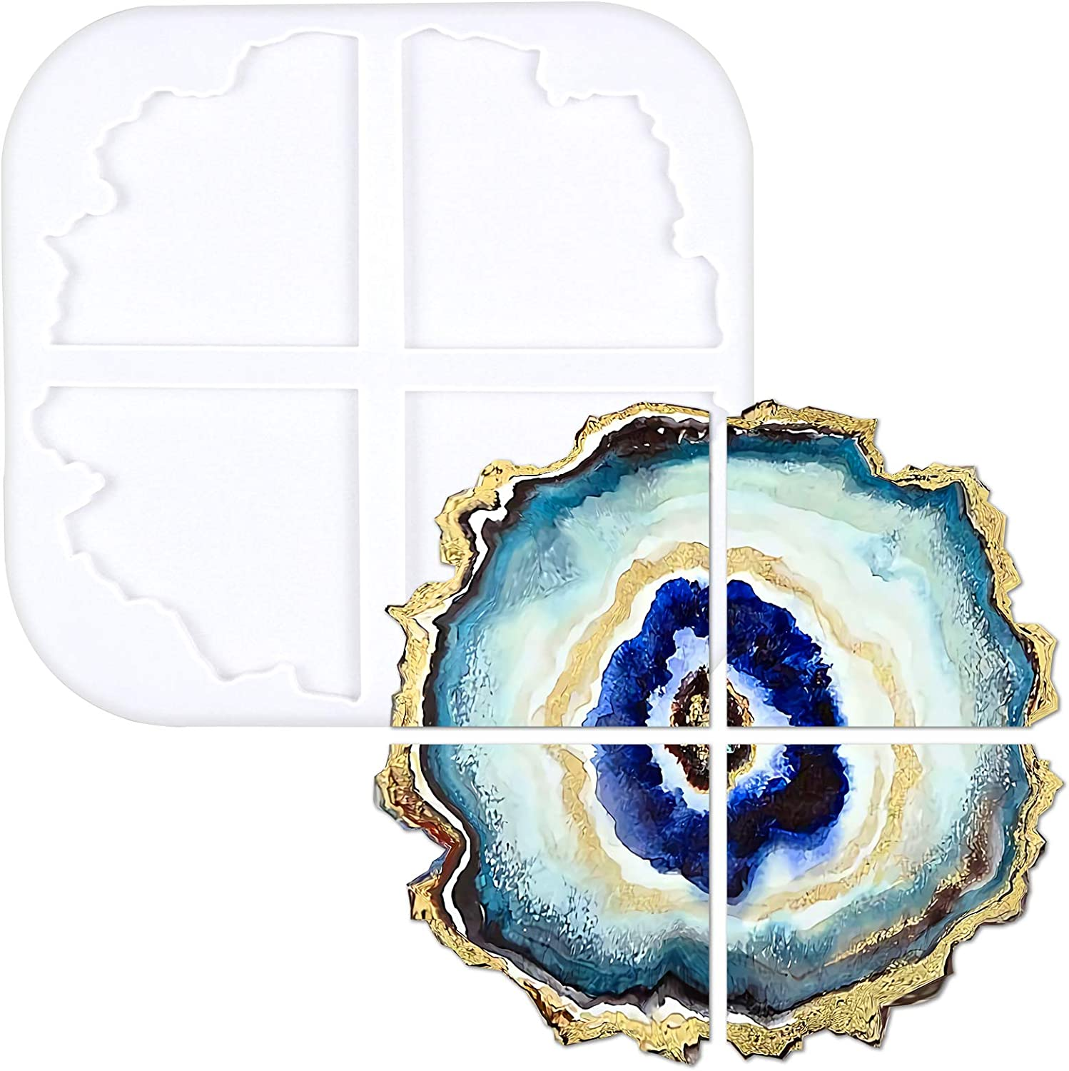 Silicone Resin Molds 1 Pcs Large Resin Tray Mold 4 Pack Geode Agate Coaster M