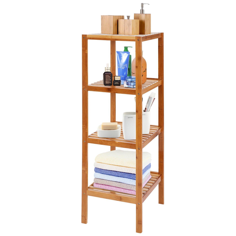 BATHWA Bamboo Bathroom Shelf 4-Tier Multifunctional Storage Standing Rack Shelving Unit Tower Free Organizer 43.7'' Height