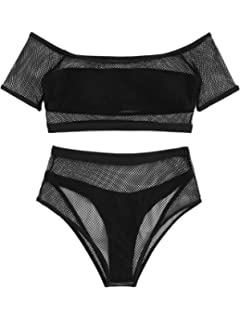beab9145caa SweatyRocks Women's Sexy Bathing Suit Fishnet Off Shoulder Mesh Bandeau  Bikini Set