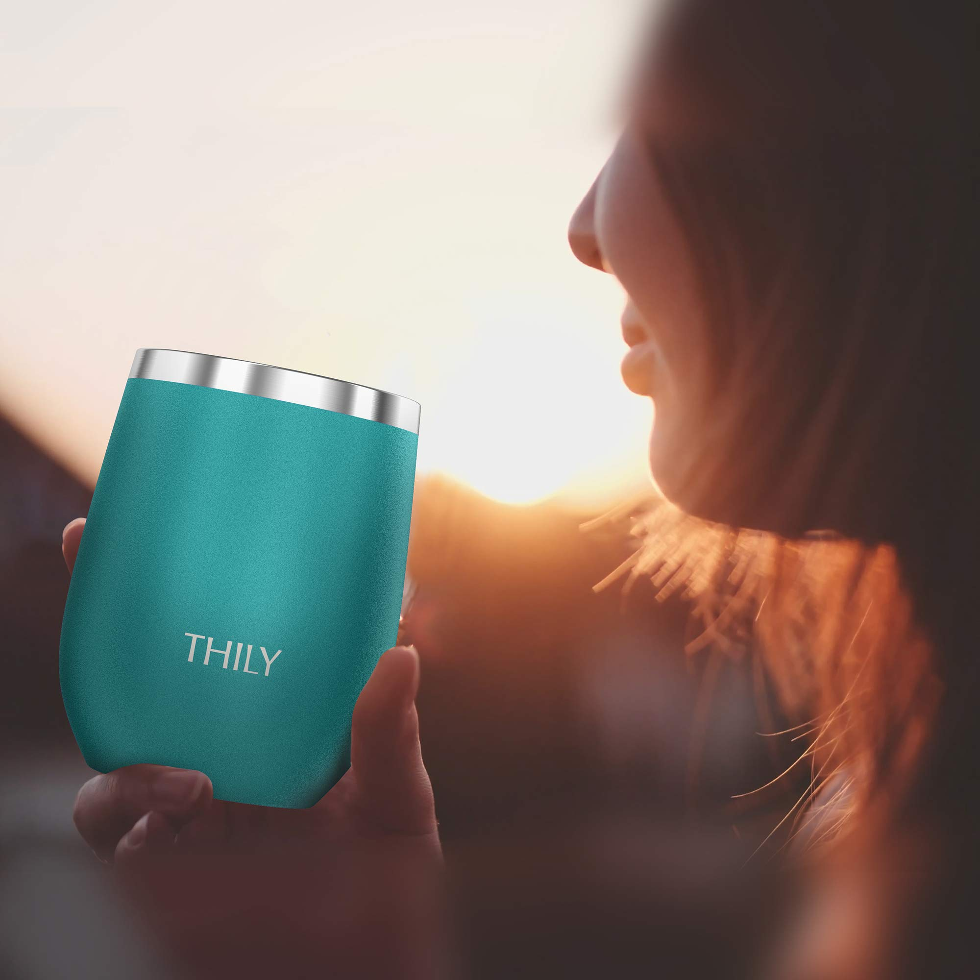 Stainless Steel Stemless Wine Glasses - THILY Triple Vacuum Insulated Cute Travel Tumbler Cup with Spill-Proof Lid, Reusable Straw, Keep Cold & Hot for Wine, Coffee, Birthday Xmas Gift, 4 Pack, Teal by THILY (Image #6)